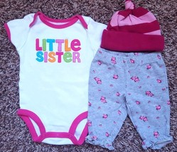Girl's Size NB Newborn 3 Pc White Little Siister Carter's Top, Floral Pants +Cap - $11.00
