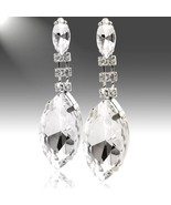 Huge Marquis Faceted Clear Acrylic Rhinestone Drop Dangle Earrings Silver Tone - $17.10