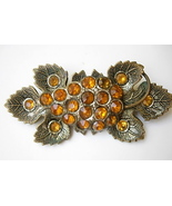 Victorian Grapes and Vine Brooch with Amber Rhi... - $45.00