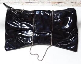 Bonita Bags New York Black Patent Faux Leather Bow Clutch Bag