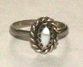 Primary image for Sterling Silver Mother-of-Pearl Southwestern Ring, Baby Ring