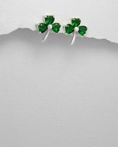 Shamrock Green CZ Clover Stud Earrings Sterling Silver
