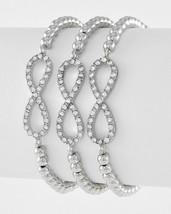 Silver Tone Bead Rhinestone 3 Piece Infinity Sign Stretch Bracelet Set - $14.40