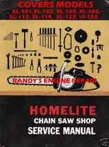 HOMELITE XL101 THRU VI123 SERVICE MAINTENANCE MANUAL - $5.77