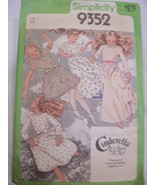 Cinderella Girl's Dress Pattern Sz7 Simplicity 9352  - $6.99
