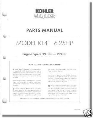Parts Manual For K141 TP 1052 A New Kohler And 50 Similar Items