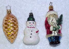 3 Glass Christmas Ornaments Snowman, Santa Pinecone - $9.99
