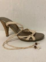 Cole Haan Ivory Crocheted Cork Heel Sandals Size 6.5  - $38.61