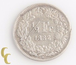 1882-B Switzerland 1/2 Franc (Very Fine+, VF+) Berne Swiss Silver Half KM-23 - $84.15