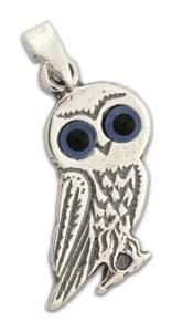 Primary image for Goddess Athena's Wise Little Owl - Sterling Silver Pendant - E