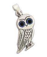 Goddess Athena's Wise Little Owl - Sterling Silver Pendant - E  - $24.00