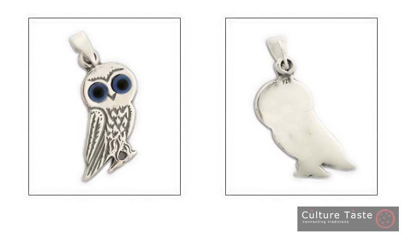 Goddess Athena's Wise Little Owl - Sterling Silver Pendant - E