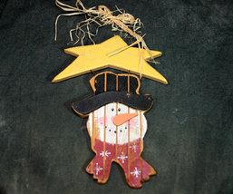 Country Primitive Snowman and Star Wooden Christmas Wall Decor - $6.98