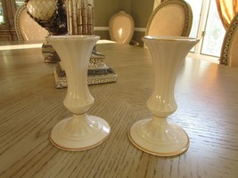LENOX CHINA 2 CLASSIC CANDLESTICK HOLDERS FLUTED PATTERN IVORY W/GOLD US... - $14.80