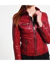 Women Leather Jacket Red Slim Fit Biker Motorcycle lambskin Size XS S M L - FQ - $109.99