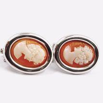 Boucles D'Oreilles or Blanc 750 18K, Camée Sculpté Ovale, Visage Femme, Clips image 3