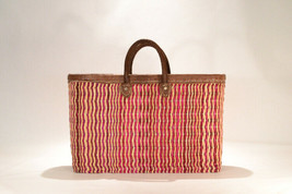 Hand woven market basket. Large. Fuscia/Natural Stripe.  - $59.00