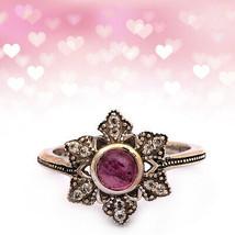 Shine Jewel 0.65 Ct Pink Tourmaline Statement Ring 925 Silver Antique Go... - $18.05
