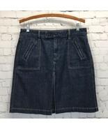 GAP Jeans Denim Kick Pleat Skirt Womans 8 Dark Wash Modest A-line  - $26.07