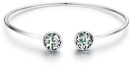 925 Sterling Silver Tree of Life Green Crystal CZ Women Open Cuff Bangle... - $82.97