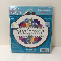 """Summer Welcome Crewel Embroidery Kit Dimensions Learn a Craft 6"""" Round - $8.79"""
