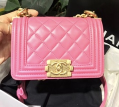 Auth Chanel Quilted Lambskin Pink Mini Boy Flap Bag Gold Hardware RARE  image 10