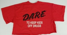 DARE To Keep Kids Off Drugs Rare Red Size Large Cut Off T-Shirt USA Made... - $54.45