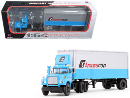Mack R Model With 28' Pop Trailer TC Transcon 1/64 Diecast Model Car by First Ge - $89.59