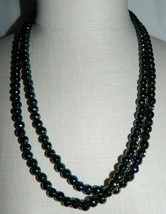 VTG Art Deco Flapper Style Black Aurora Borealis Glass Faceted Beaded Necklace - $74.25
