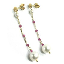 18K YELLOW GOLD PENDANT EARRINGS, FW WHITE PEARLS AND RED CUBIC ZIRCONIA image 2