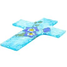Handmade Fused Art Glass Forget Me Not Floral Flower Cross Hanging Sun Catcher image 3