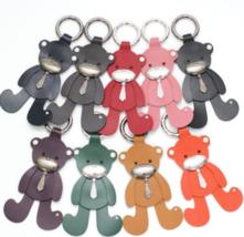 Cowhide Swarovski Stone Big Bear Bear Key Holder Bag Tassle Decor with F... - $78.75