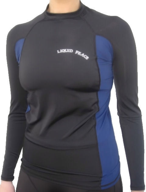 Primary image for Women's Black & Blue, Long Sleeve, Rash Guard-LP Letters, Sizes: Small-2xl