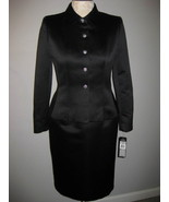 Kasper Black Satin Suit With Rhinestone Buttons Size 6 - $85.00