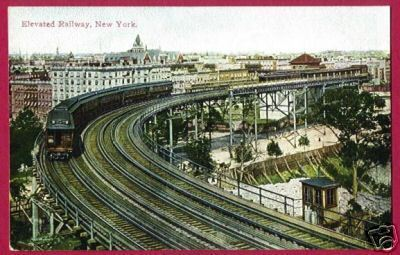 NEW YORK CITY NY Elevated RR Train Cars
