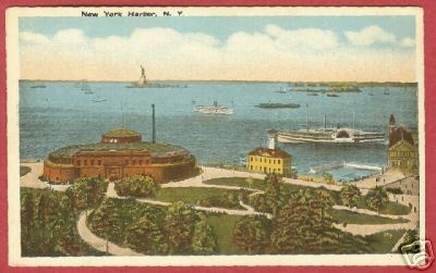 New York NY Harbor Aquarium Statue Liberty Postcard BJs