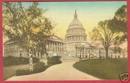 WASHINGTON DC Capitol Hand Colored Postcard HC BJs - $10.00