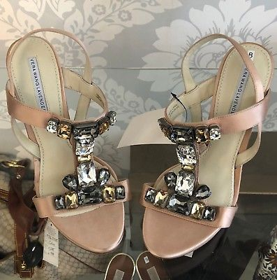 Primary image for VERA WANG Lavender Label Blush Heels with Rhinestones Sz 8 $350