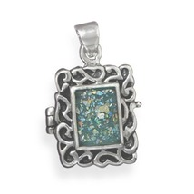 Scroll Design Sterling Silver Locket with Roman Glass Front - $139.95