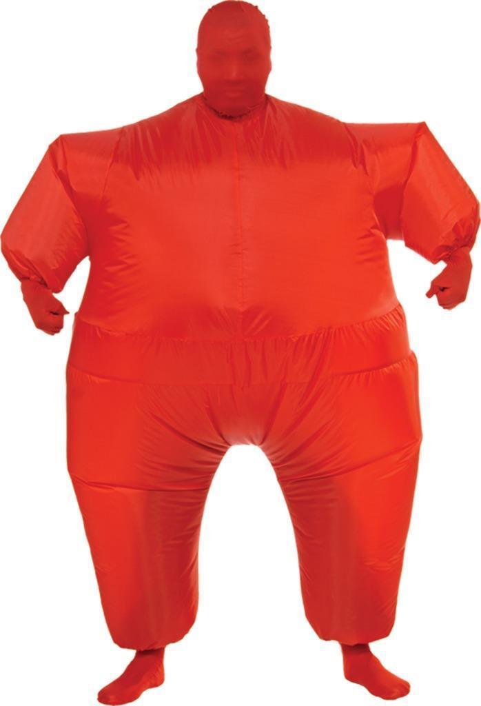 Skin Suit Costume Inflatable Red Fat Suit Adult Men Women Halloween RU887110