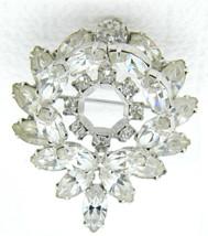 VTG WEISS Silver Tone Clear Rhinestone 3D Raised Wreath Flower Brooch Pin  - $74.25