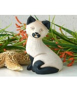 Vintage Artesania Rinconada Siamese Cat Kitten Figurine Uruguay Signed - $17.95