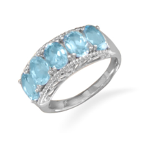 Five Stone Blue Topaz Silver Ring - €65,02 EUR