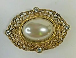 Vintage Elegant Ornate Evening Designer Pin Brooch Gold Tone 1x17 - $31.45