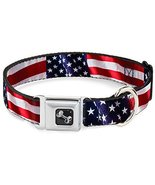 "Buckle-Down Seatbelt Buckle Dog Collar-American Flag Vivid CLOSE-UP 1"" Wide S - €15,03 EUR"