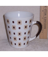 Mod Retro Shades of Brown Check Coffee Mug Cup - $9.89
