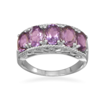 Five Stone Amethyst Silver Ring - €81,27 EUR