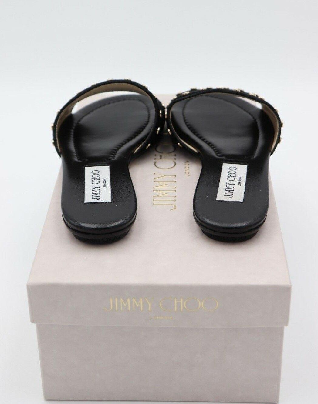 Neu in Box Jimmy Choo Nanda Nieten Schwarz Wildleder Rutschen Sandalen 6 36