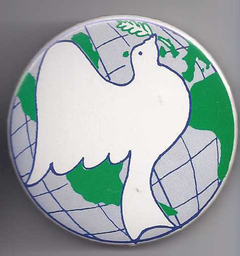 DOVE for WORLD PEACE Pinback Button, Vintage
