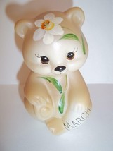 Fenton Glass March Daffodil Birthday Sitting BEAR Figurine GSE K Barley #17 - $115.92
